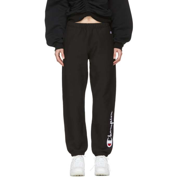 Image of Champion Reverse Weave Black Embroidered Lounge Pants