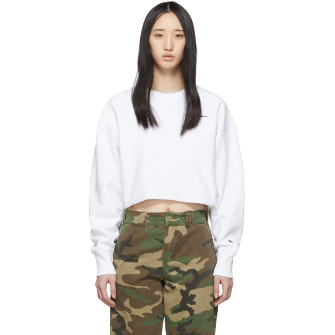 Image of Champion Reverse Weave White Cropped Cut-Off Sweatshirt