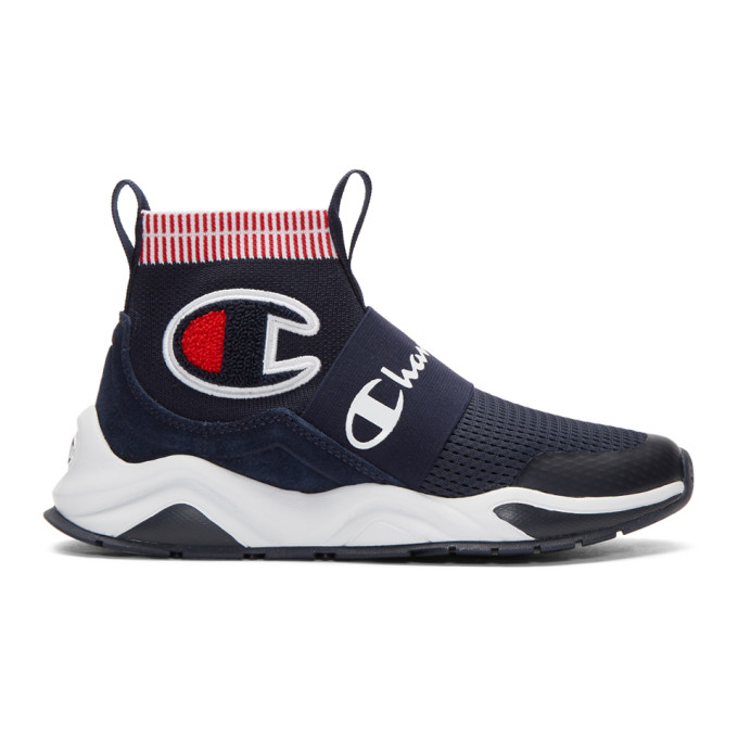 Image of Champion Reverse Weave Navy Rally Pro High-Top Sneakers
