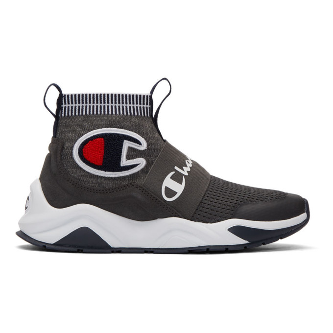Image of Champion Reverse Weave Grey Rally Pro High-Top Sneakers