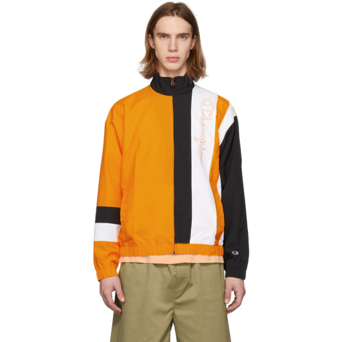 Image of Champion Reverse Weave Orange & Black Logo Script Track Jacket