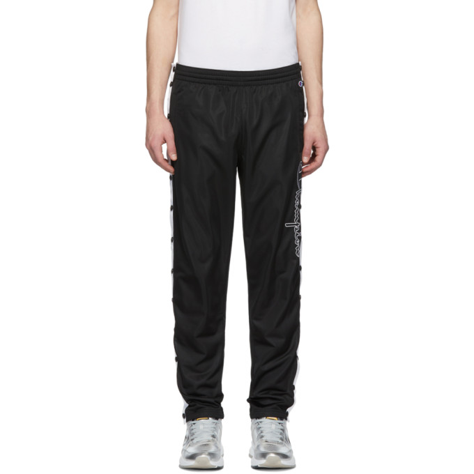 Image of Champion Reverse Weave Black Script Logo Track Pants