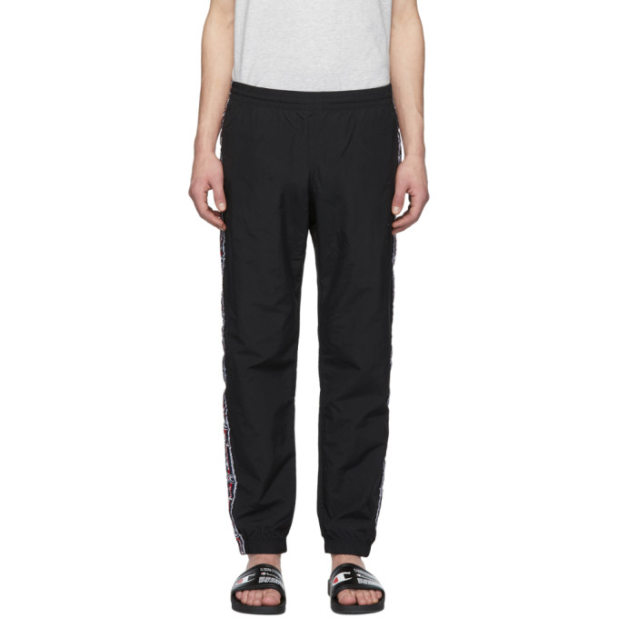 Image of Champion Reverse Weave Black Logo Tape Track Lounge Pants