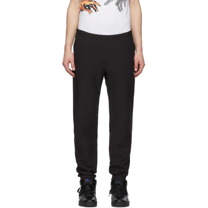 Image of Champion Reverse Weave Black Small Logo Track Pants