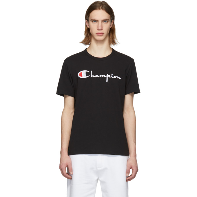 Image of Champion Reverse Weave Black Script Logo T-Shirt