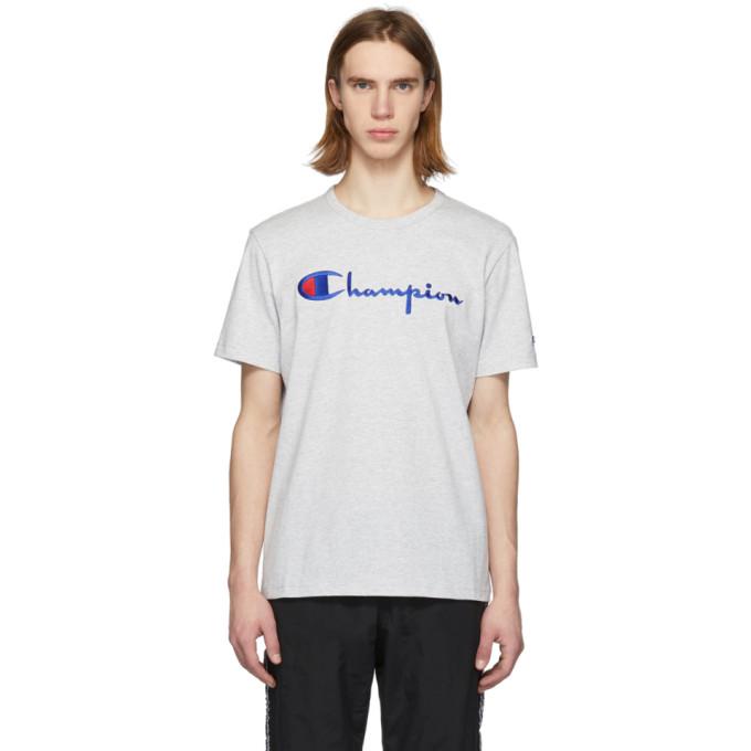 Image of Champion Reverse Weave Grey Script Logo T-Shirt