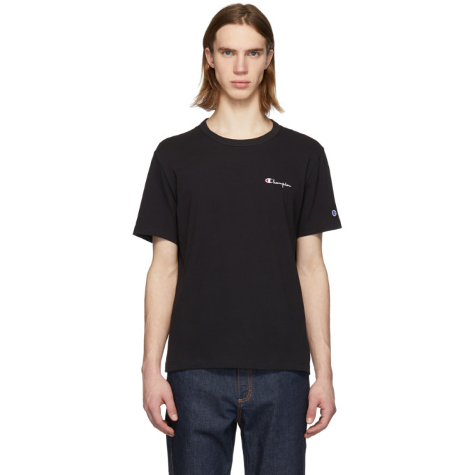 Image of Champion Reverse Weave Black Small Script Logo T-Shirt