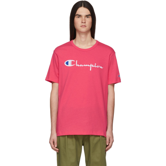 Champion T-shirts CHAMPION REVERSE WEAVE PINK EMBROIDERED SCRIPT LOGO T-SHIRT