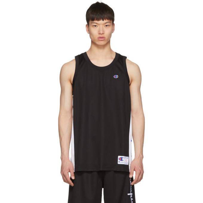 CHAMPION | Champion Reverse Weave Black And White Mesh Logo Tank Top | Goxip