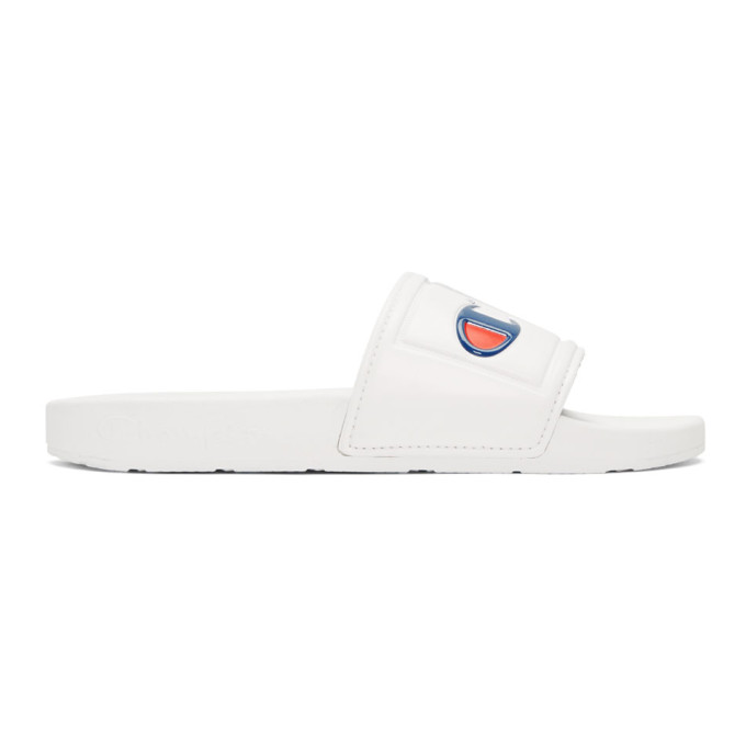Image of Champion Reverse Weave White Jock Logo Pool Slides