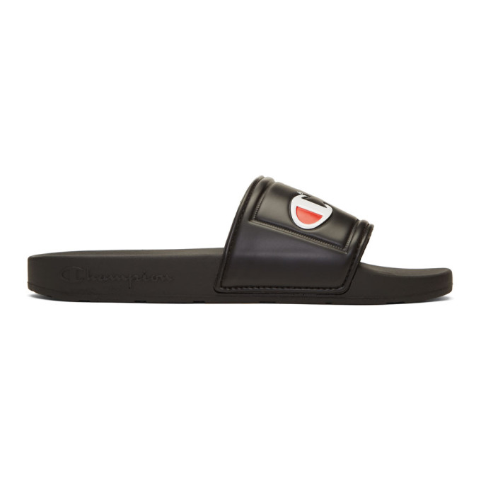 Image of Champion Reverse Weave Black Jock Logo Pool Slides