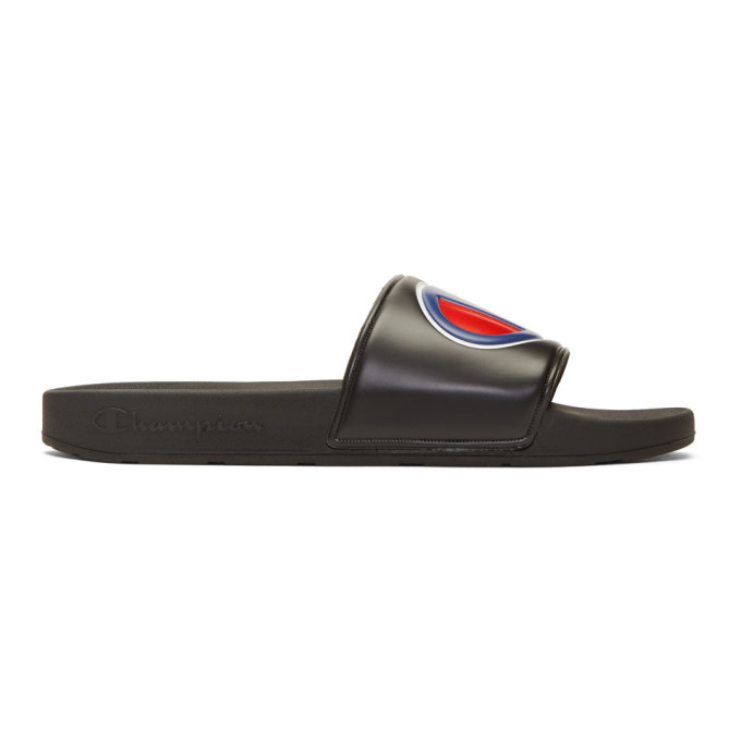 Image of Champion Reverse Weave Black Logo Pool Slides