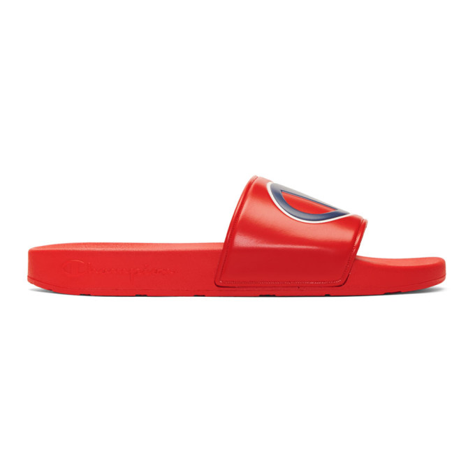 Image of Champion Reverse Weave Red Logo Pool Slides