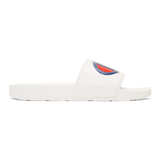 Image of Champion Reverse Weave White Logo Pool Slides
