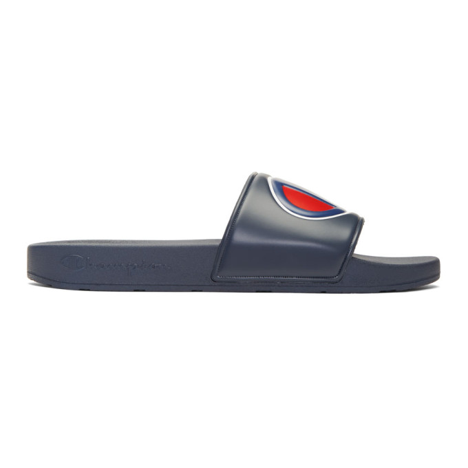 Image of Champion Reverse Weave Navy Logo Pool Slides