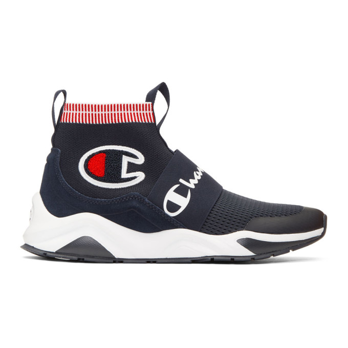 Image of Champion Reverse Weave Navy Rally Pro Sock Sneakers