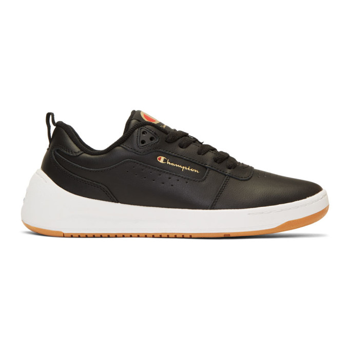Image of Champion Reverse Weave Black Leather Super C Court Classic Sneakers