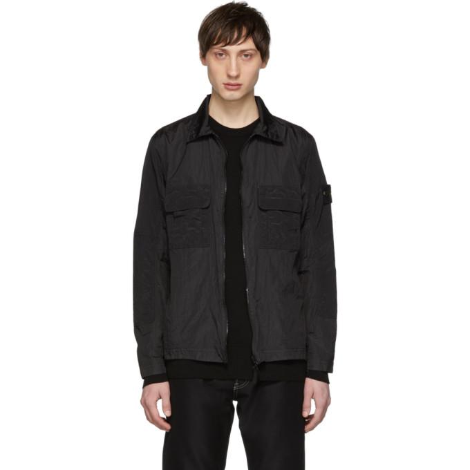 Stone Island ブラック オーバーシャツ ジャケット