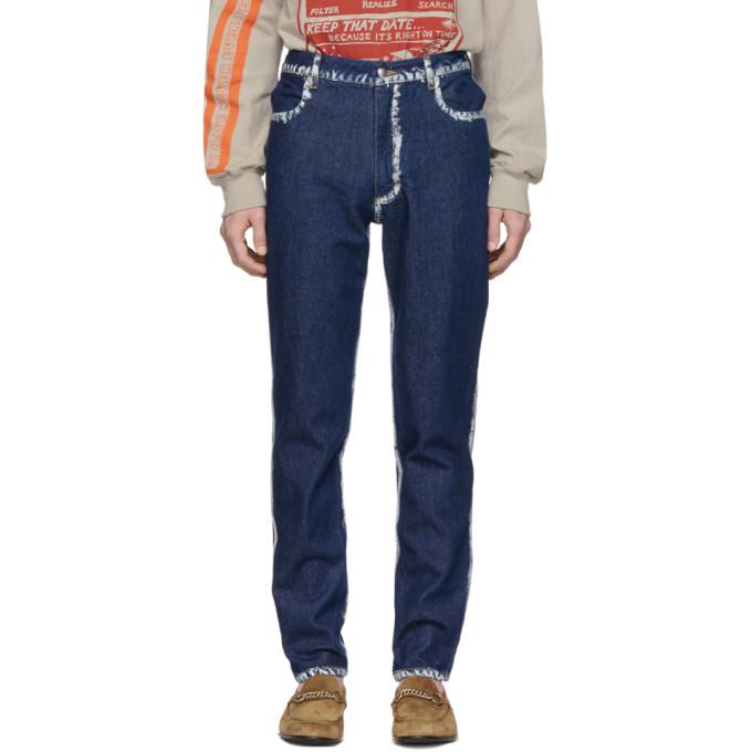 Image of Eckhaus Latta Blue Seam Painting EL Jeans