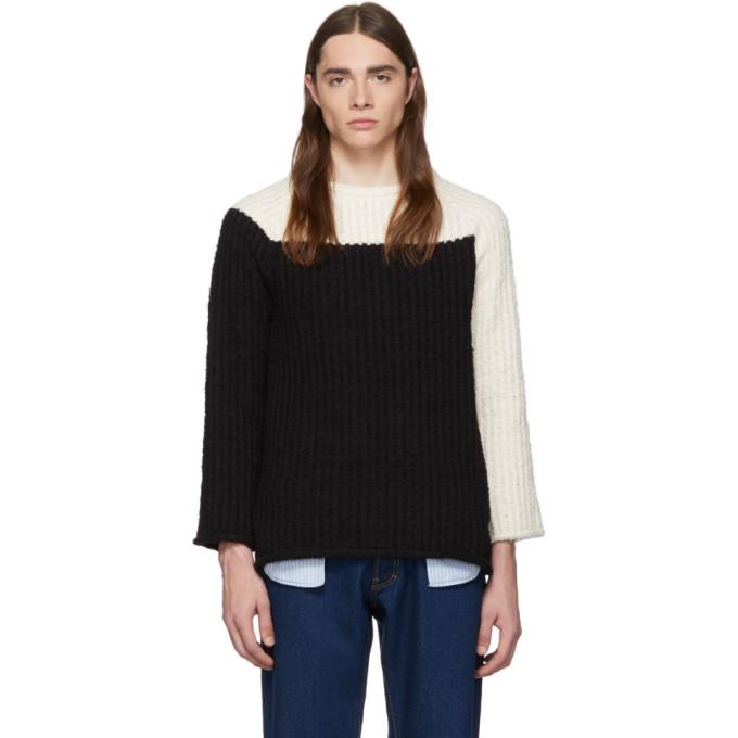 Eckhaus Latta Sweaters ECKHAUS LATTA OFF-WHITE AND BLACK REFEREE SWEATER