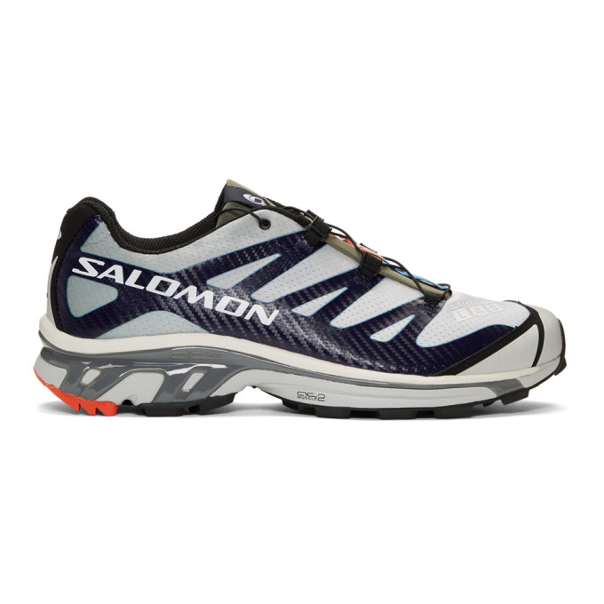 low priced d23b9 d23ee Salomon Grey Blue SLab XT 4 ADV Sneakers Low top mesh sneakers in  shadow   grey. Bonded trim in  evening  blue throughout. Round rubber cap toe  featuring ...