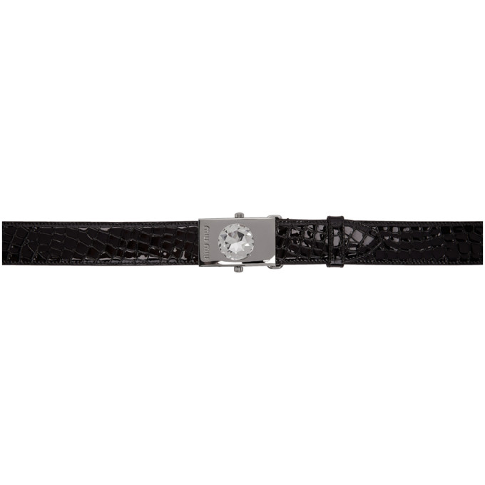 Miu Miu Ceinture embossee facon croco noire Oversized Diamond