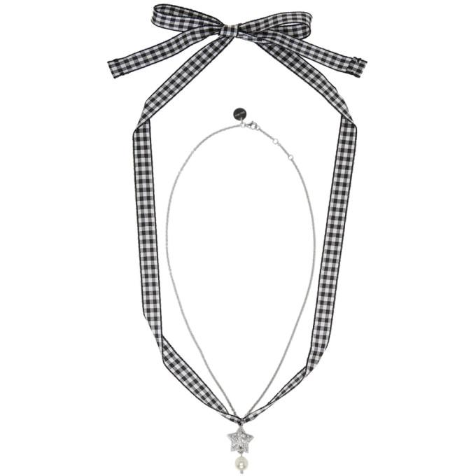Miu Miu Silver Star & Pearl Charm Necklace