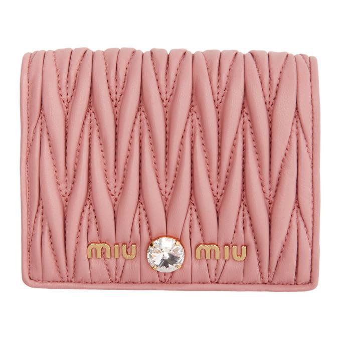 MIU MIU | Miu Miu Pink Quilted Crystal Wallet | Goxip