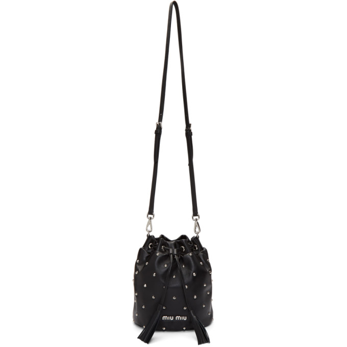 Miu Miu Black Studded Bucket Bag