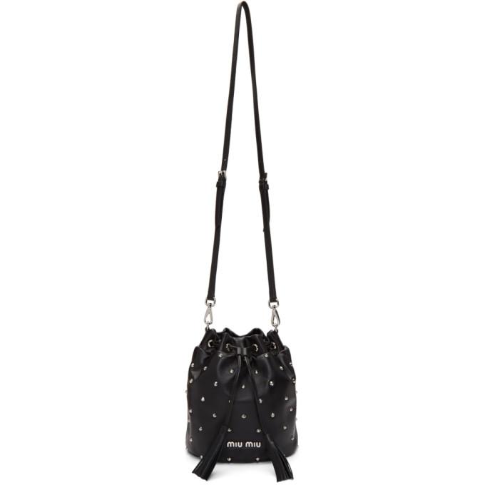 e107ddc4aeb0 Miu Miu Black Studded Bucket Bag In F0002 Black