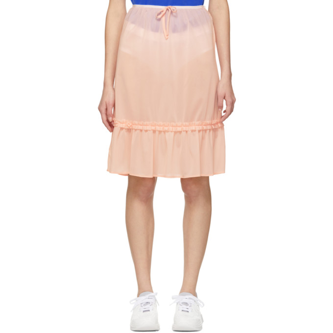 760edd984a Miu Miu Pink Ruffle Hem Skirt
