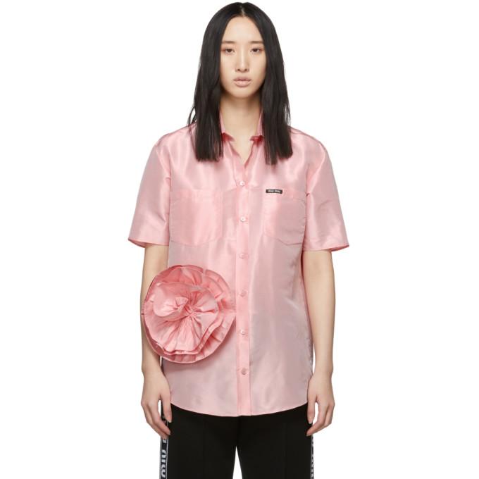 MIU MIU | Miu Miu Pink Taffeta Rose Shirt | Goxip