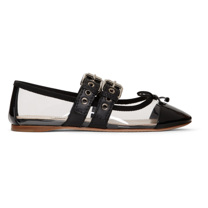 Miu Miu Transparent and Black Double Bands Ballerina Flats