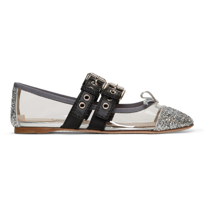 Miu Miu Transparent and Silver Double Bands Ballerina Flats