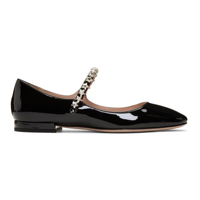Miu Miu Black Patent Ballerina Flats