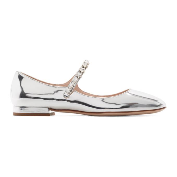 Miu Miu Silver Metallic Ballerina Flats