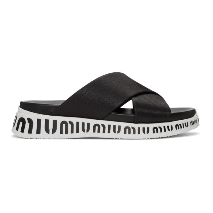 Miu Miu Black Nylon Tech Sandals