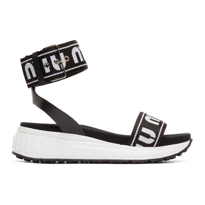 MIU MIU | Miu Miu Black and White Strappy Sandals | Goxip