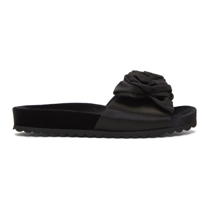 MIU MIU | Miu Miu Black Satin and Velvet Rose Sandals | Goxip