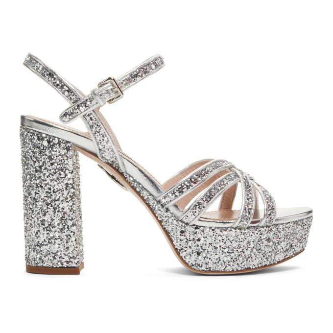 f8c0e3caafed Miu Miu Glitter Platform Heeled Sandals In Silver