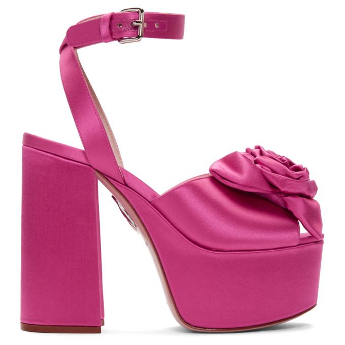 Miu Miu Pink Satin Rose Sandals