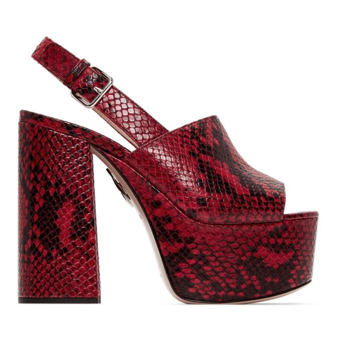 Miu Miu Red Python Print Sandals