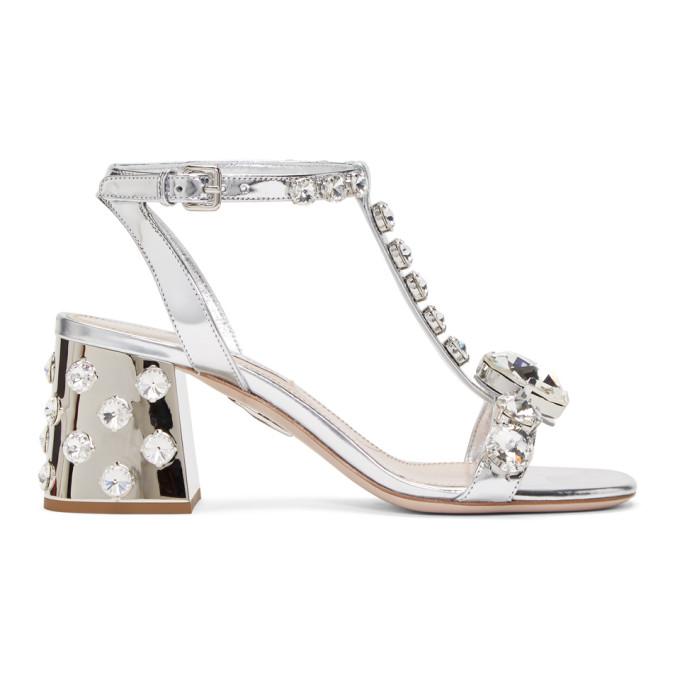 MIU MIU | Miu Miu Silver Cube Heeled Sandals | Goxip