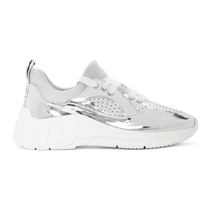 Miu Miu Silver Technical Metal Run Sneakers