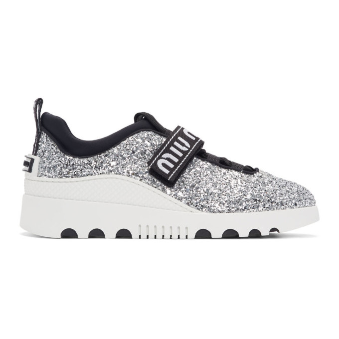 Miu Miu Silver and White Glitter Run Sneakers