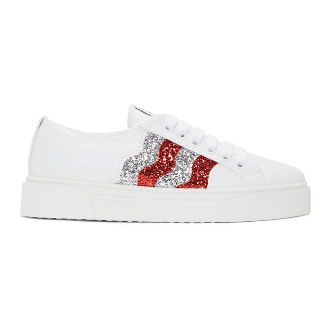 Miu Miu White Glitter Sneakers