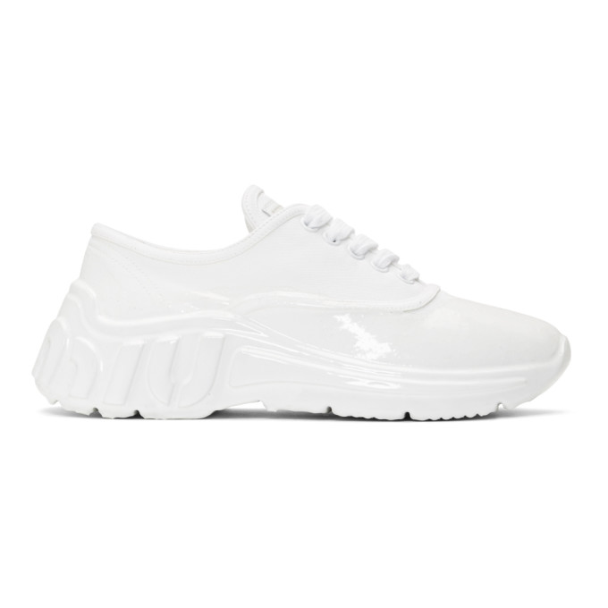 Miu Miu White Gabardine Sneakers