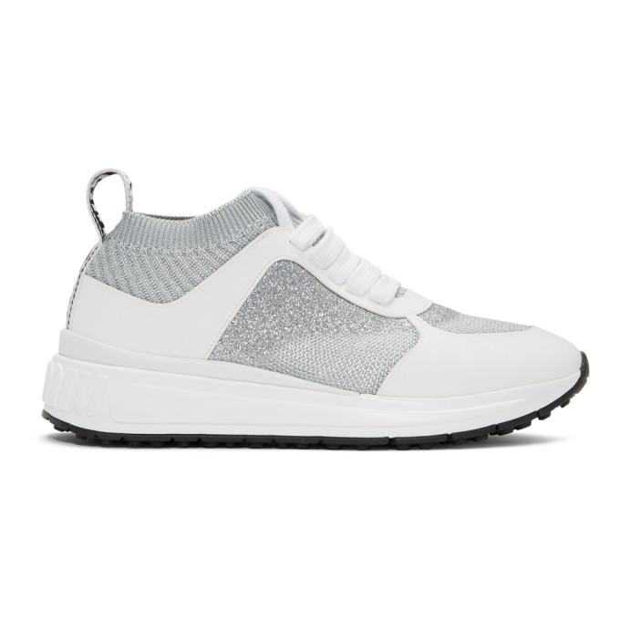 Miu Miu Silver and White Knit Sneakers