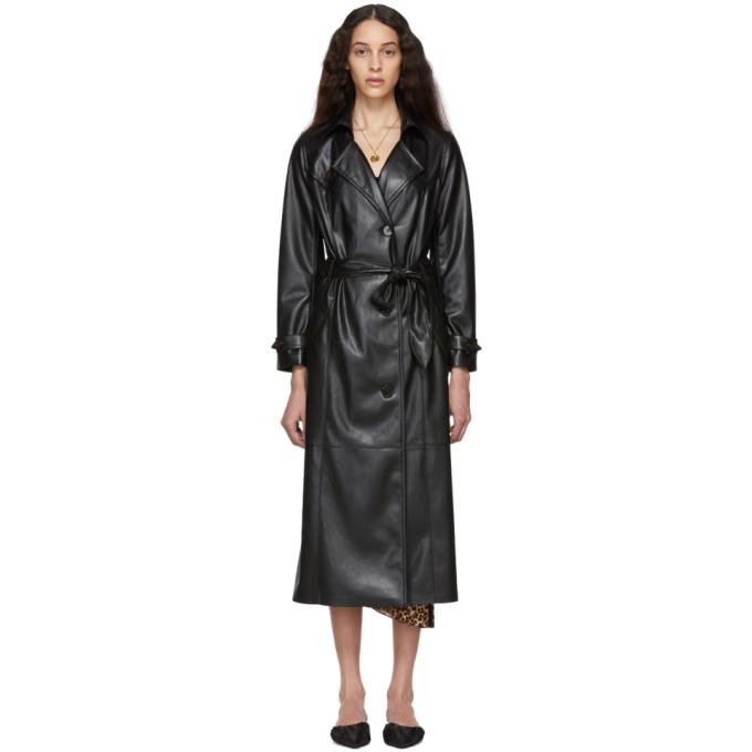 Nanushka Black Vegan Leather Chiara Trench Coat