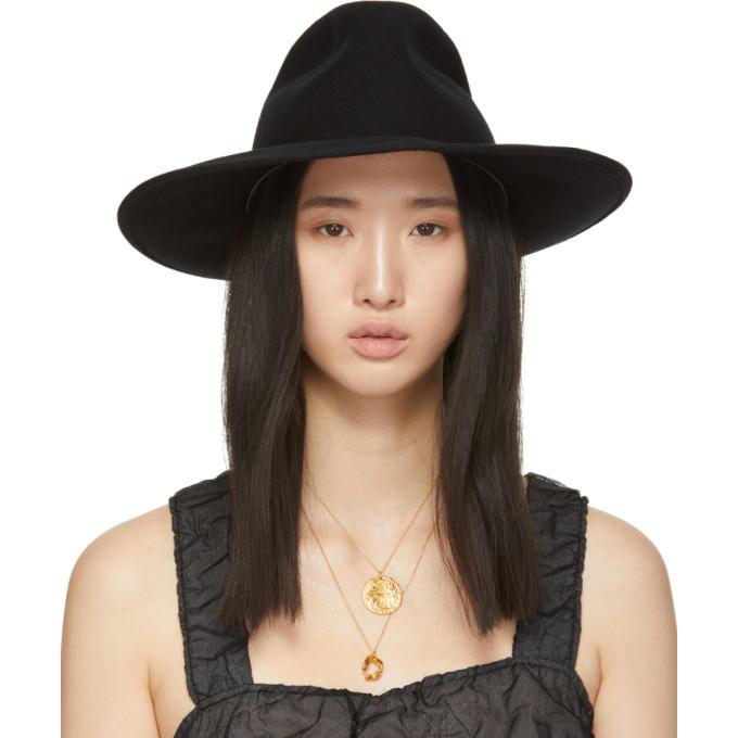 Image of Cherevichkiotvichki Black Wool Wide Brim Hat